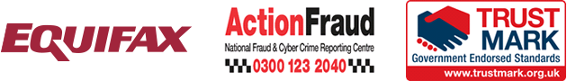 Equifax, ActionFraud and TrustMark logos
